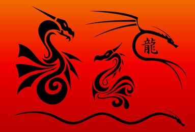 Vectores de dragones chinos