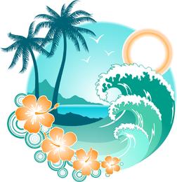8 vectores de islas tropicales