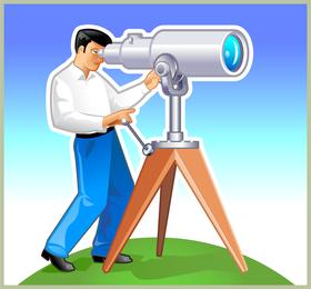 Navegador olha para a frente através do telescópio