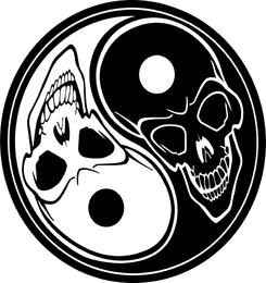 Vetor de crânios de ying yang