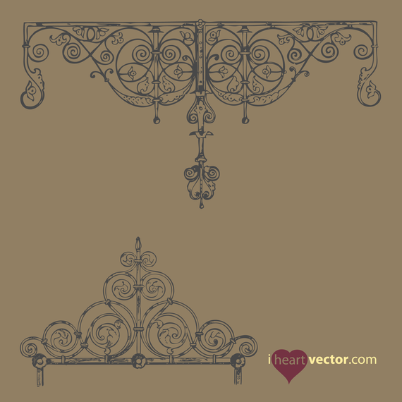 Antique Iron Ornament Vector Set