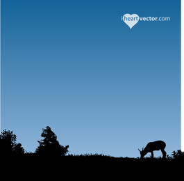 Countryside Landscape with silhouettes