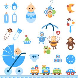Vetor de brinquedos de bebê fofo