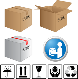 Cartons And Carton Labels Vector