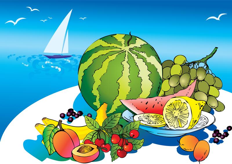 las frutas tropicales ilustración de dibujos animados descargar vector