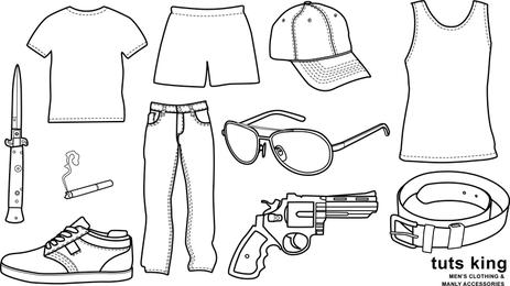 Homens usam roupas linha vetor de desenho de mercadorias