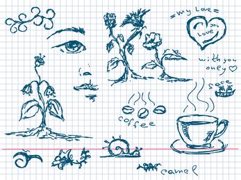 Plantas de café pintadas à mão e outros elementos do vetor