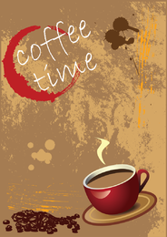 Coffee time poster with illustration