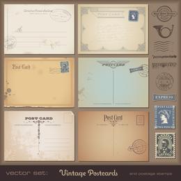 Weinlesepostkarten und Stempel 06 Vektor