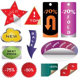 Una variedad de sitios de compras decorativos gráficos vectoriales