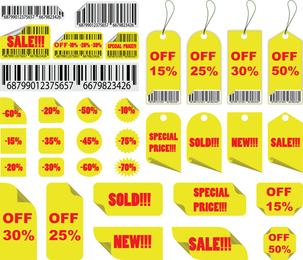 Yellow Sales Tag Vector
