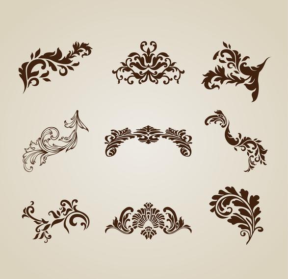 b24401052c276 Conjunto de vectores de elementos de hermoso diseño vintage ...