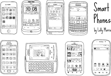 Dibujado a mano gratis teléfonos inteligentes vectores