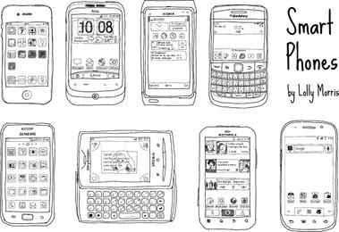 Vetores de telefone inteligente de mão livre desenhada