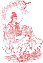 Diosa de la misericordia Vector de línea de dibujo
