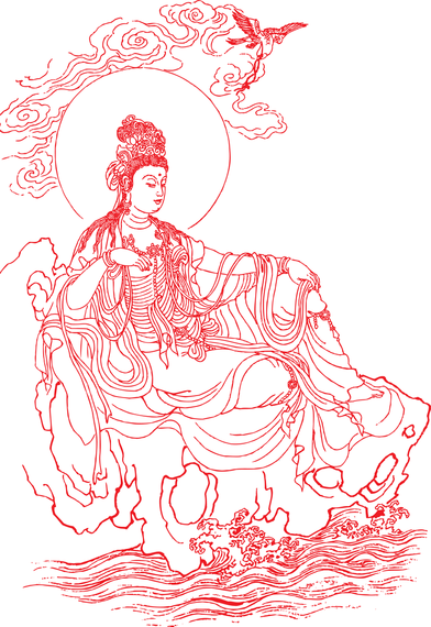 Goddess Of Mercy Vector Line Drawing