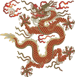 Isolated illustrated dragon in red and brown