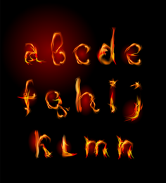 Flame English Letters 02 Vector