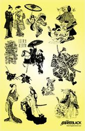 Ilustrações de gueixa samurai