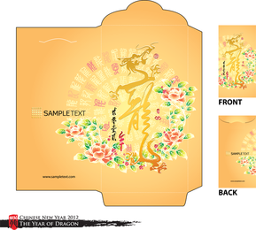 Year Of The Dragon Red Envelope Template 08 Vector