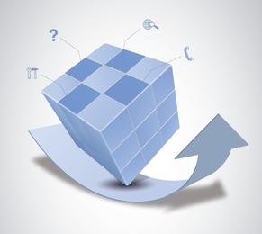 Vector de cubo mágico y diseño de flecha