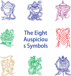 Eight Auspicious Symbols Vector Graphic
