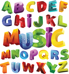 Colorful 3d Alphabet Vector Graphic