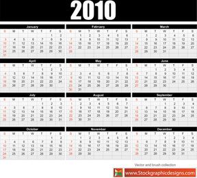 2010 Free Vector Calendar 2