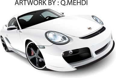 Vector libre Whiteporsche 911 Turbo Techart