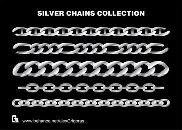 Coleção de correntes de prata