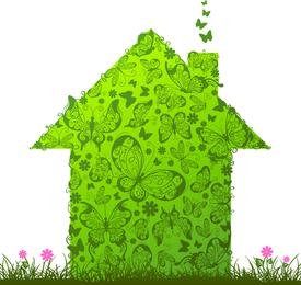Casa verde y caja de vectores