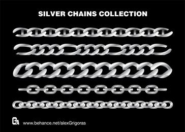 Colección de vectores de cadenas de plata