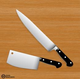 Cuchillo de carnicero de cocina Premium Vector Set