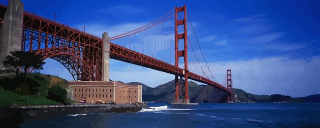 Paisaje de puente dorado
