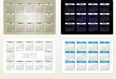 Hermoso 2011 Calendario Plantilla 05 Vector