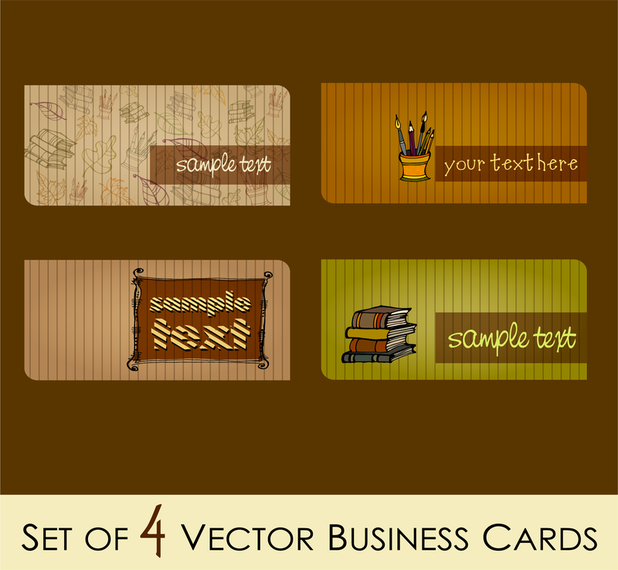 Campus Fashion Theme Cards Vector