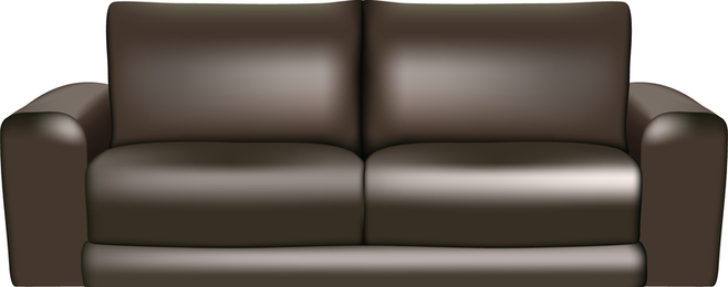 Brown Leather Sofa in 3D