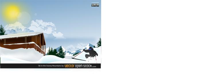 Ski In The Snowy Mountain Design