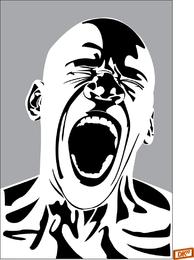 Bald Screaming Man Vector