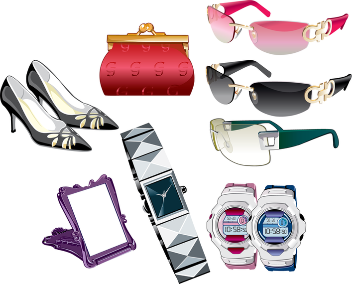 Vector conjunto de accesorios femeninos