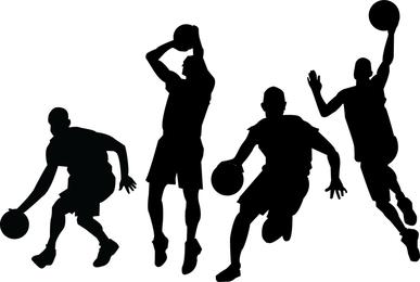 Basketball-Spieler-Silhouetten eingestellt