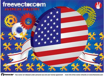 Conjunto de objetos de la industria estadounidense