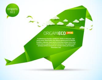 Vetor De Origami Verde Animais 02