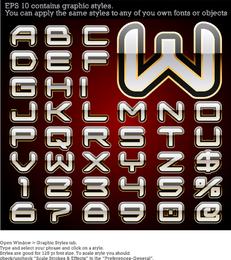 Alfabeto de vetor com estilo gráfico