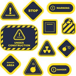 Señales de advertencia amarillas y etiquetas 02 Vector