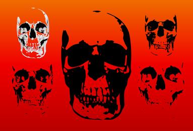 Set von 5 silhouettierten Schädeln