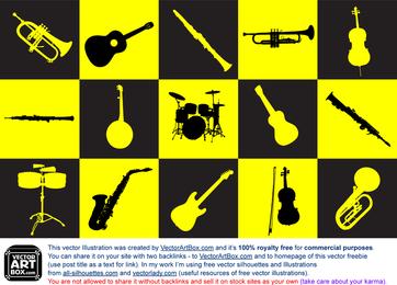 Musikinstrumente Silhouetten