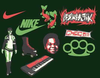 Conjunto de elementos deportivos retro.