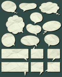 Bolhas do discurso com conjunto de papel robusto