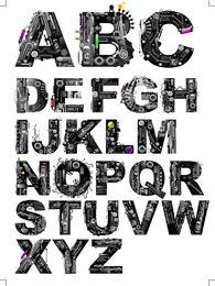 Tema De La Máquina De Vectores De Letras